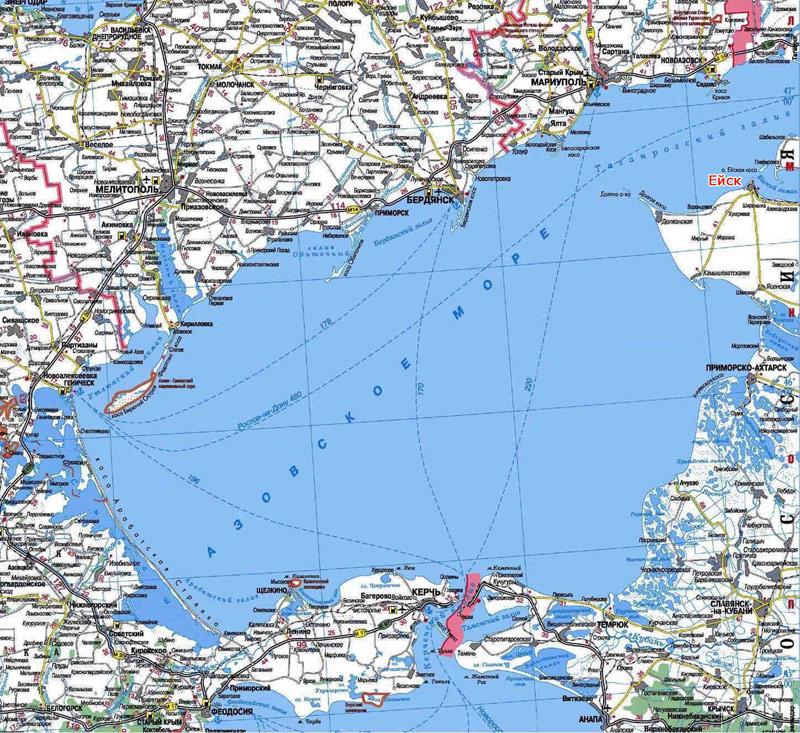 Карта Азовского моря